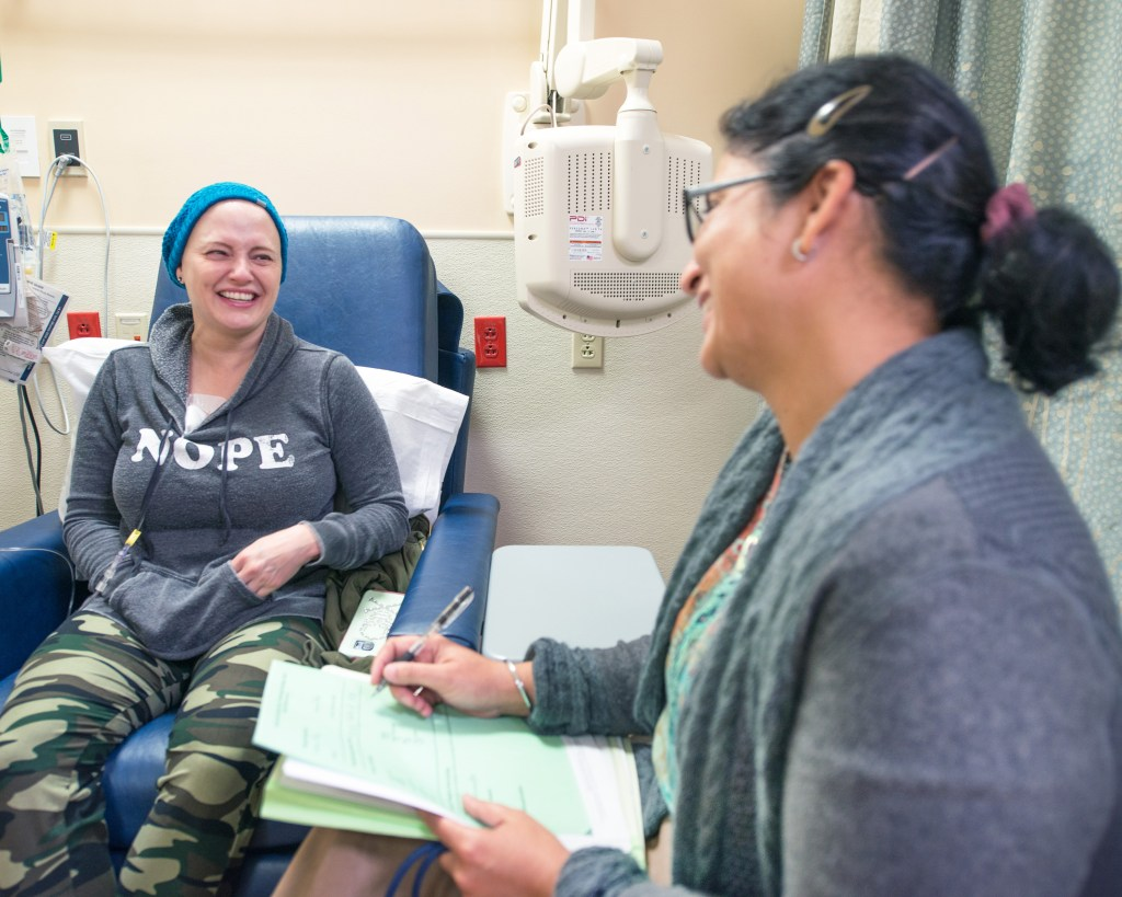 female soldier receiving chemotherapy treatment