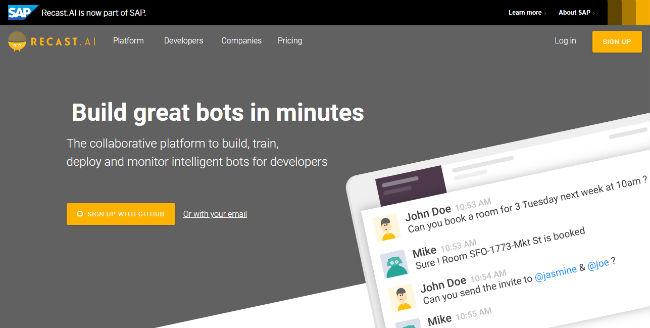 Recast AI  Chatbot Platform