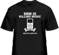 DRM is Killing Music (on a shirt) by Giant Robot Printing