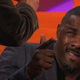 Idris Elba posing for Graham Norton