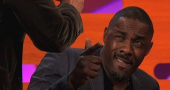 Idris Elba posing for Graham Norton