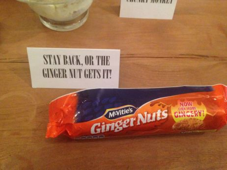 Stay back, or the ginger nut gets it!