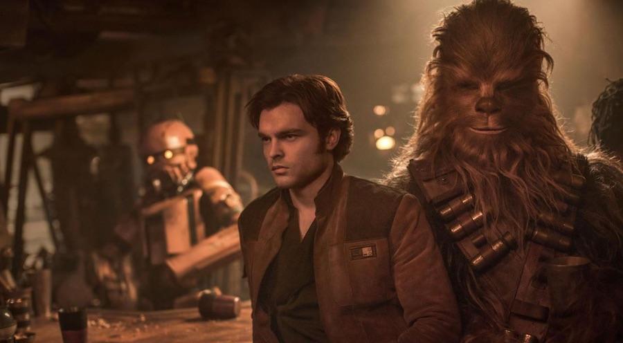 Alden Ehrenreich as Han Solo and Joonas Suotamo as Chewbacca from Solo: A Star Wars Story