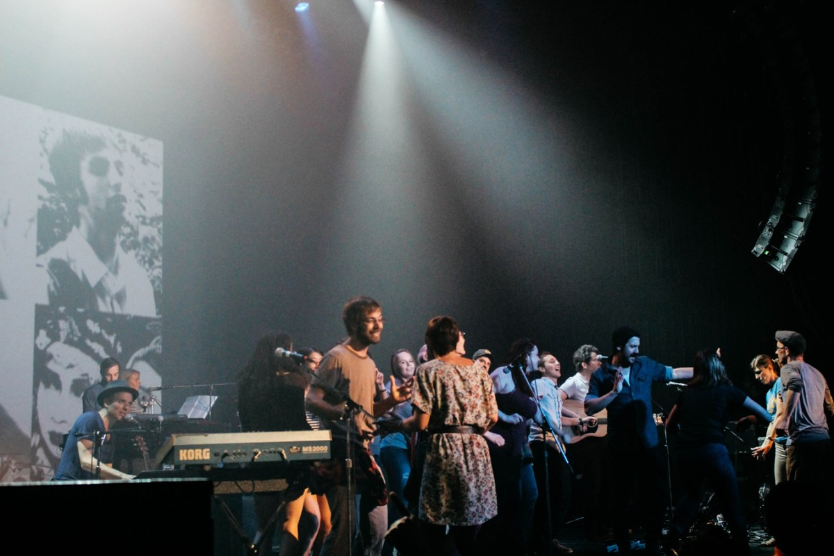 "Belle & Sebastian were joined onstage by fans for the classic ""The Boy With The Arab Strap"""