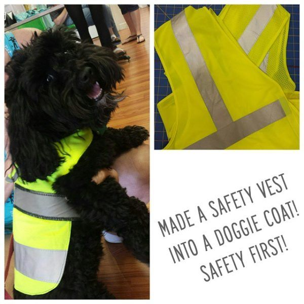 Made another doggie coat but this one was from a safety vest, so that at night the pup could be seen.