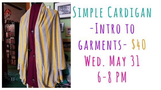 Simple Cardigan - Intro To Garment Construction @ Needle, Ink and Thread | Beavercreek | Ohio | United States