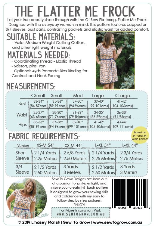 sew_to_grow__flatter_me_frock_sewing_pattern_materials Flatter Me Frock - Sew to Grow - Printed Paper Pattern