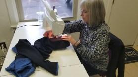 linda making leggings - needle ink and thread