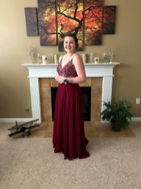4 layer prom dress with chiffon and satin, gems (4 layers and should strap adjustment)