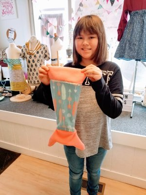 """Mrs. E and her 18"""" doll mermaid tail she made!"""