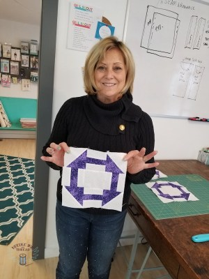Mrs. L's private lesson to put some quilt squares together.