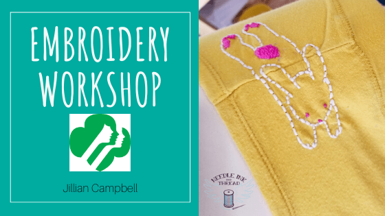 Embroidery class for girl scouts