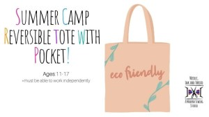 reversible tote with pocket summer camp