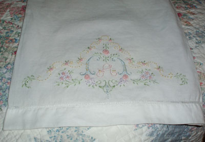 hand embroidered baby pillowcase a