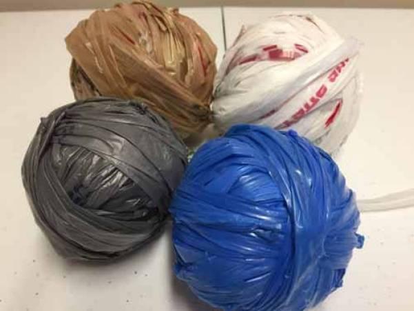 Examples of Plastic Bag Yarn - Plarn
