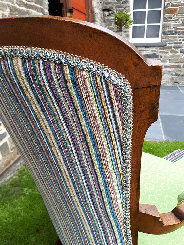 Grandmother chair - close up of back and braid