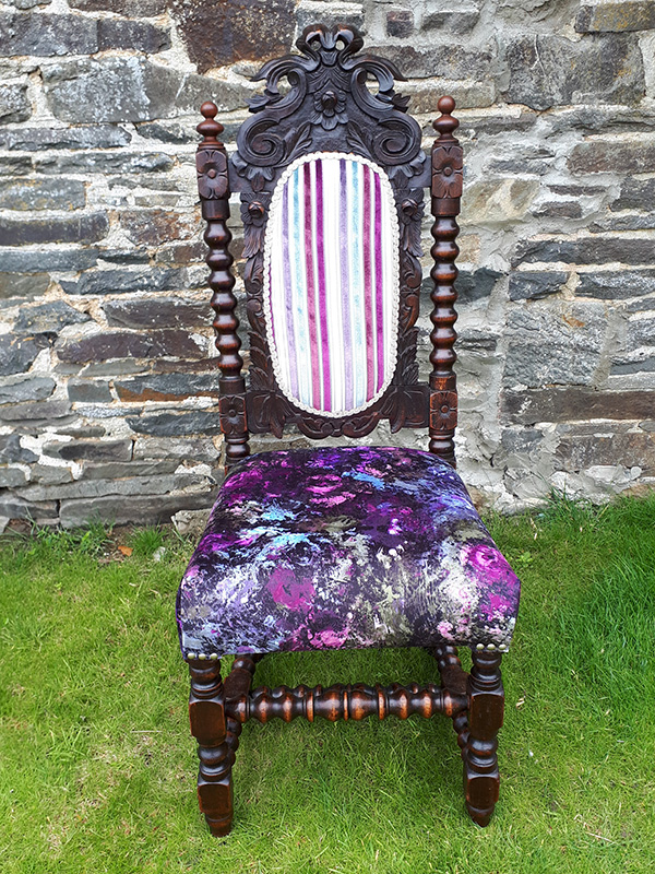 Jacobean Revival chair; fully restored and reupholstered with designer fabric from Arley House.