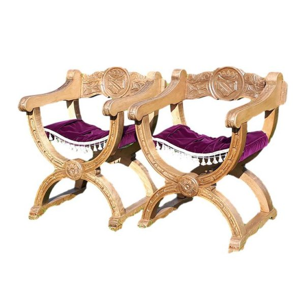 Pair of Roman Curved chairs