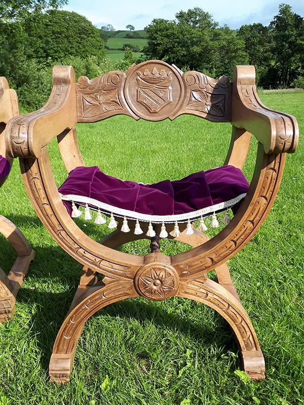 Curule Chairs - lovingly restored, Designers Guild purple velvet saddle seats