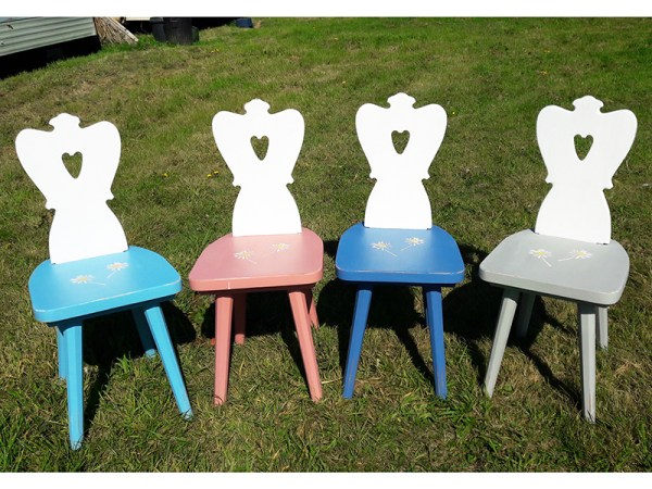 Set of 4 Heidi Chairs - various colours with stencil on each seat.