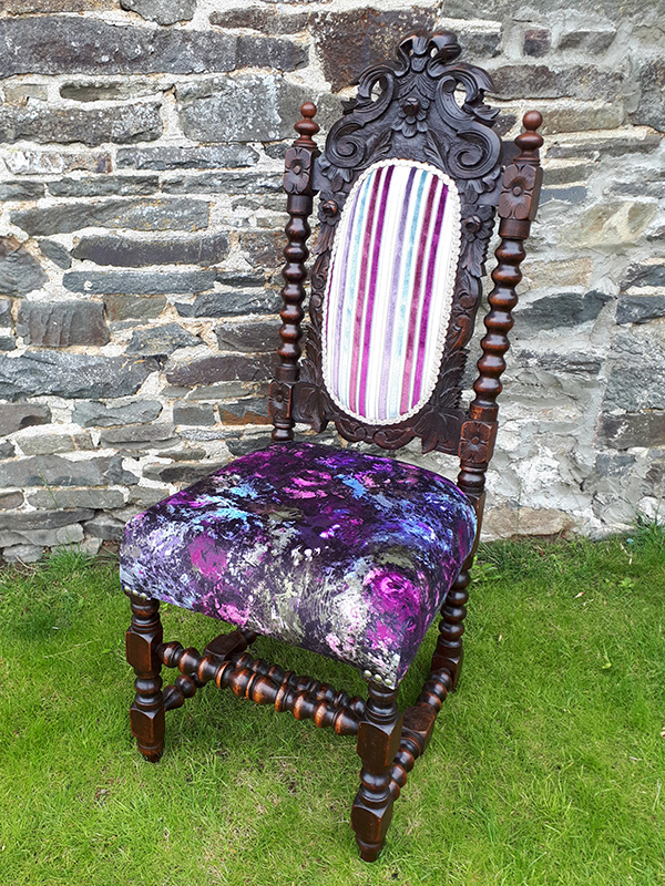 Jacobean Revival Chair reupholstered with designer upholstery fabric.