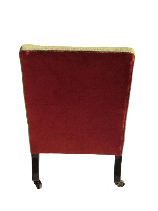 Victorian Nursing Chair showing the burnt-orange back.