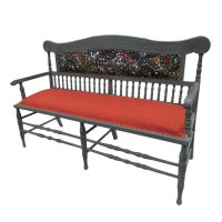The full glory of the Reupholstered Victorian Settle