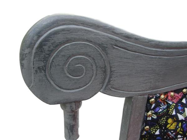 Reupholstered Victorian Settle (close-up).
