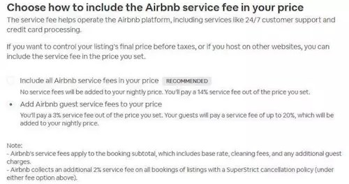 Airbnb service fee 14% for host