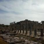broken roman columns against the sky