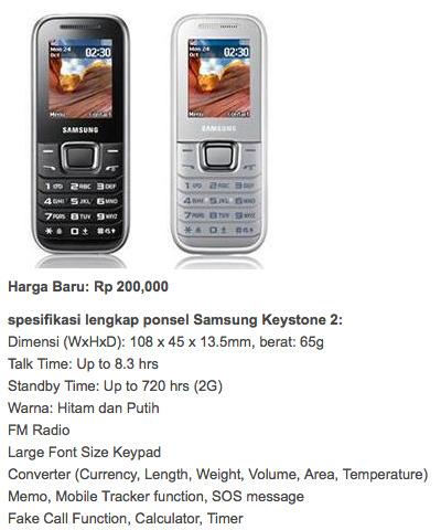 Samsung E1232B hp samsung lama murah
