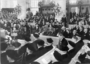 Publiek bij de erepromotie van Winston Churchill, 10 mei 1946.