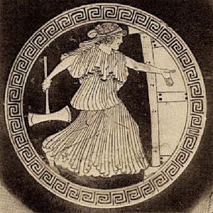 Clytaemnestra op weg om Agamemnon te doden