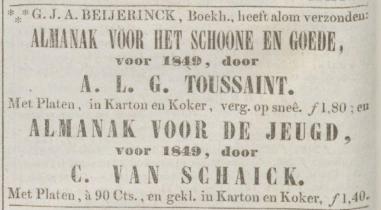 Advertentie uit de Opregte Haarlemsche Courant van 14-11-1848