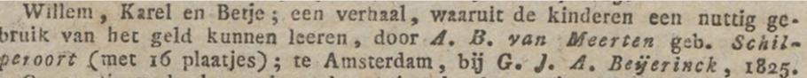 Aankondiging van de eerste druk in de Nederlandsche Staatscourant van 3-10-1825.