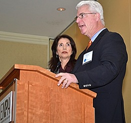 Diane and John Foley accepting the 2015 Freedom of Information Award on behalf of their son James.