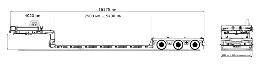 Low loader trawl retractable and extendable 3 or more axles for super heavy loads