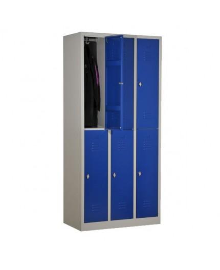 Vestiaire Bi Place Armoire Metallique Monobloc 6 Cases