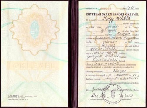Szakmérnöki Diploma