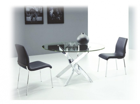 table repas ronde verre design