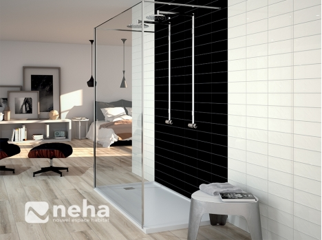 bain noir blanc brillant 10x30cm