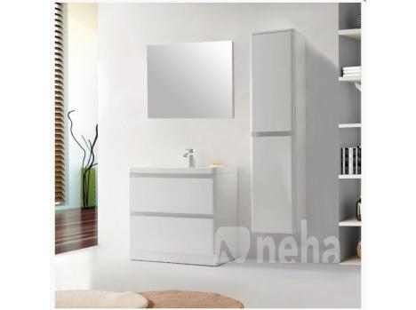 Meuble Salle De Bain A Poser Blanc Laque Arrondi Fabrique En France