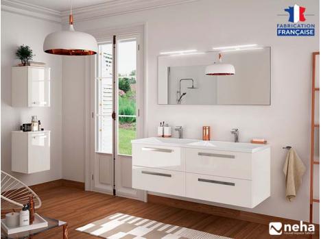 meuble salle de bain design suspendu ou
