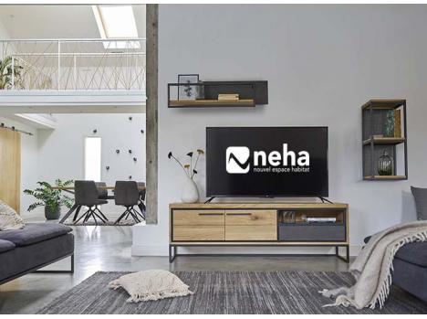 meuble tv industriel bois beton cire