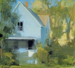 "Sun Bleached Blue House (2003), oil on linen, 22"" x 24"""