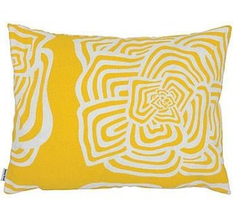"Even after the summer sun disappears and gives way to moodier fall skies, this cheery yellow toss cushion will keep the mood upbeat. The printed cotton duck pillow has an invisible zipper and a feather and down insert. 14""; X 18"";. $70. POD, BROOKLINE, MASS., (617) 739-3802"