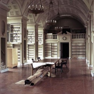 "Boston Athenaeum: Before renovation—fifth floor with rolled-up rug (2000), 50"" x 50"""