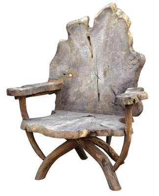 "The teak Tara chair is perfect for the guest who wants to feel like the king of the forest. Because the chairs are fashioned from reclaimed wood, each will be slightly different in size and shape. APPROXIMATELY 36""W X 27""D X 44""H. $850. THE ROBIN'S NEST, HINGHAM, MASS, (781) 740-4843, OR HUDSON, BOSTON, (617) 292-0900, AND WELLESLEY, MASS., (781) 239-0025, www.HUDSONBOSTON.COM"