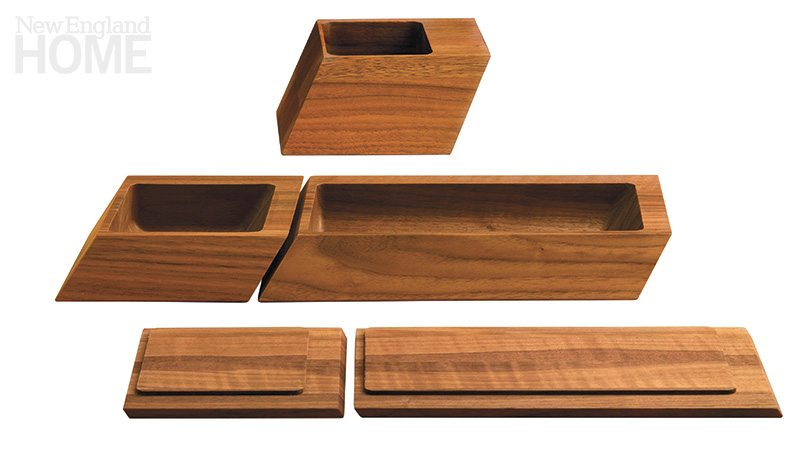 Desk and bath accessories from the Sharp Series are carved and sliced from a solid wood block.