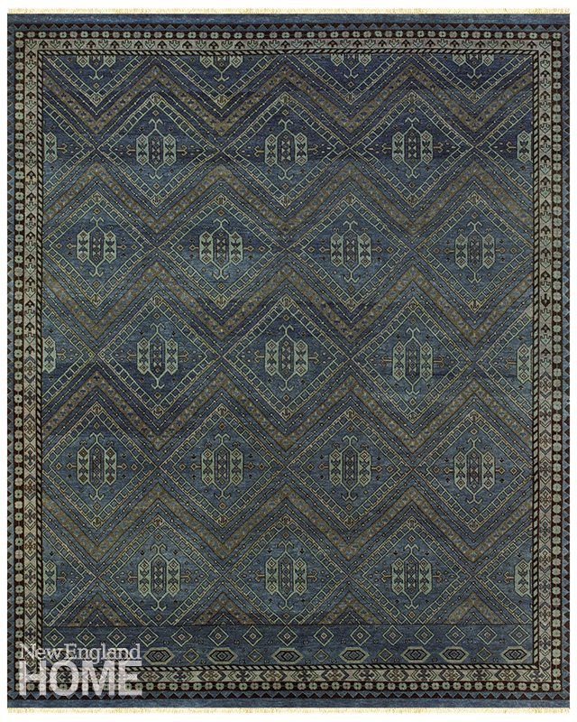 "Feizy Rugs's Namche Rug in Blue ""The rich color and subtle pattern of this rug provide a grounded, masculine, and timeless foundation to a room."" Rustigian Rugs, Providence, (401) 751-5100, rustigianrugs.com"